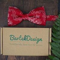 Red Bow Tie Floral Bow Tie Red White Bow Tie for Men Wedding Bow Tie Gift for Men Pre Tied Bow Tie BartekDesign Bow Tie Mens Bow Tie Xmass