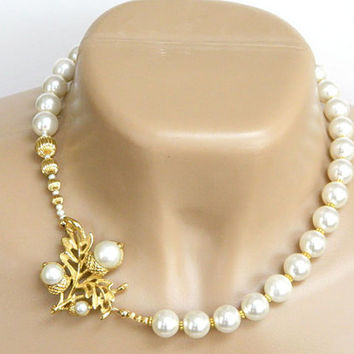 White Recycled Jewelry Necklace Handcrafted Glass Pearl Short Gold