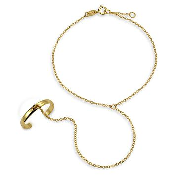 Trendy Hand Chain Dancer Slave Bracelet Ring 14K Gold Plated Silver