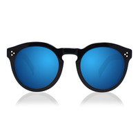 LEONARD II BLACK WITH BLUE MIRRORED LENSES