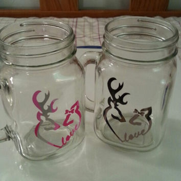 Personalized Drinking jars with buck and doe love deer heads printed on jar. Buy one or set.