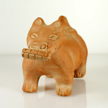 Vintage Colima Dog With Corn Mexico Art Pottery Clay Terracotta Ceramic Sculpture