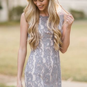 From The Heart Grey Lace Dress