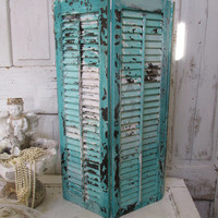Wooden shutter hand painted aqua sea foam blue weathered shabby beachy cottage recycled piece anita spero