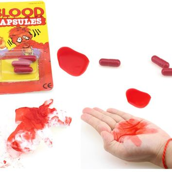 6Pcs/lot Vomiting Blood Capsules Fake Blood Pill Fancy Dress Vampire Halloween and April Fool's Day Joke Horror Prank Toys