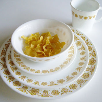 Vintage Corelle Place Setting - Dishes for One - 5 piece set - Butterfly Gold Pattern