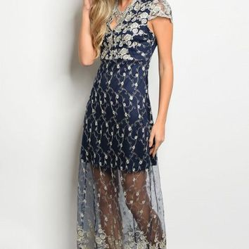 Embroidered Dress in Navy & Gold