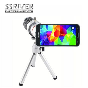 SSRIVER for Samsung Galaxy S5 12X Optical Zoom Telescope Camera Lens+Tripod +Back Case Cover i9600 Phone 12X Zoom Lens