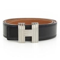 AUTHENTIC HERMES CONSTANCE H LOGO BELT BLACK BROWN GRADE A USED-AT