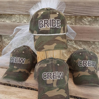 Bachelorette Party Hats-set of 4, Camouflage Bride Crew Hats, Team Bride Hats, Bride Squad Hats, Bride Hats Set, Bridal Party Hats.
