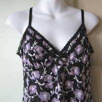 Black Camisole & Shorts w/ Lavender Purple Flowers; Women's Medium Black Floral Cami/Tap Pant Set; U.S. Shipping Included