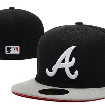 ICIKBE6 Atlanta Braves New Era MLB Cap Americana Ultimate 59FIFTY Black Hat