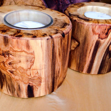 Aspen Log Candle Holder Wedding Decor/Rustic Home Decor