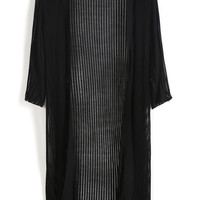 Black Vertical Sheer Mesh Striped Knit Long Line Cardigan