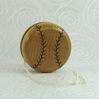 Wood Yo-Yo - Baseball - Pyrography - BKInspired