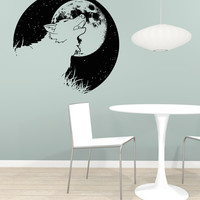 Vinyl Wall Decal Sticker Wolf and Moon #OS_AA1649