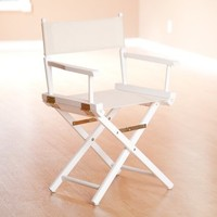 Yu Shan Director's Chair In White Frame with Natural Canvas