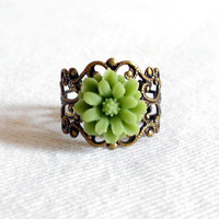 Dainty Daisy Vintage Filigree Adjustable Ring - Apple Green Lucite Flower in Victorian Inspired Antique Brass
