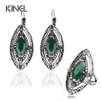 Vintage Bohemia Jewelry Antique Silver Plated Eyes Turquoise Stone Earrings Ring Women Jewelry Set T0039