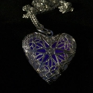 Glowing Necklace , Glowing Locket , Glow in the dark necklace  , Heart Necklace , Heart Locket , Women Necklace , Gift Idea
