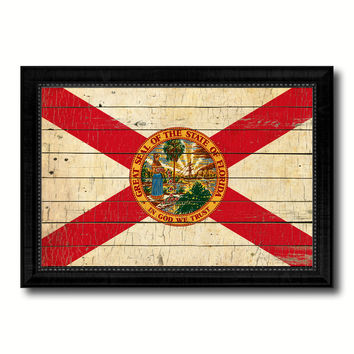 Florida State Vintage Flag Canvas Print with Black Picture Frame Home Decor Man Cave Wall Art Collectible Decoration Artwork Gifts