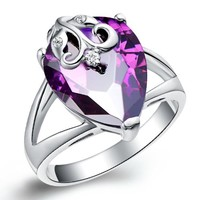 18K White Gold Plated Flower on Purple Teardrop Crystal Cocktail Ring