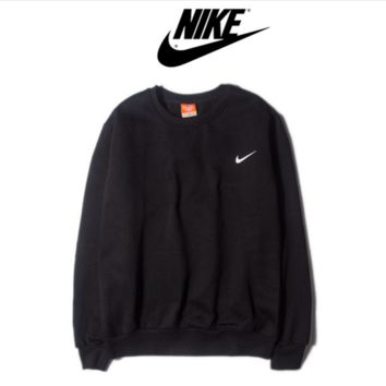 NIKE fashion round neck sets of long-sleeved sweater sweater autumn and winter sports couple Sweater Black