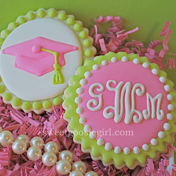 Lilly Pulitzer Inspired Pink & Green Graduation Cap Decorated Sugar Cookies