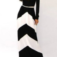 White and Black Striped Long Sleeve Maxi Dress