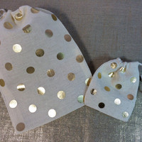 GOLD POLKA DOT favor bags-Gold wedding favor bags - polka dot party bags - set of 10 - in 2 sizes -your color choice