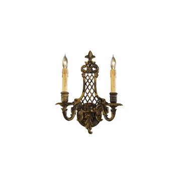 Metropolitan Lighting N9813-2 French Gold Two-Light Wall Sconce with Tan Drip Candle Sleeves Shade