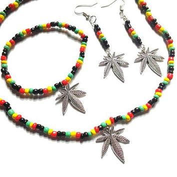 Pot leaf earrings, pot leaf necklace, pot leaf bracelet jewelry set