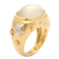 Celestial Moonstone Yellow Gold Platinum Ring