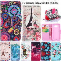 Beautiful Magnetic Print PU Leather Phone Case Cover For Samsung Galaxy Core 4G LTE G386F G386W SM-G386F With Card Slots Stand