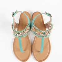 Liliana Candace-2 T Strap Beaded Sandals | MakeMeChic.com