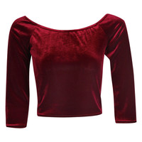 Amber Velvet Off The Shoulder Crop Top