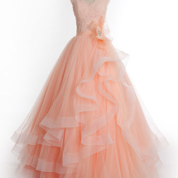 Peach Lace Princess Prom Formal Dress with Cap Sleeves