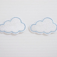 Set 2pcs. White Cloud Super Cute Cartoon New Iron On Patch Embroidered Applique Size 3.7cm.x2.3cm.