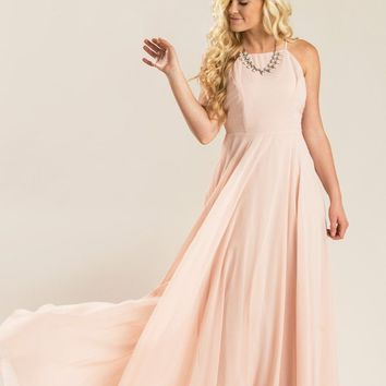 Emma Blush Flowy Maxi Dress