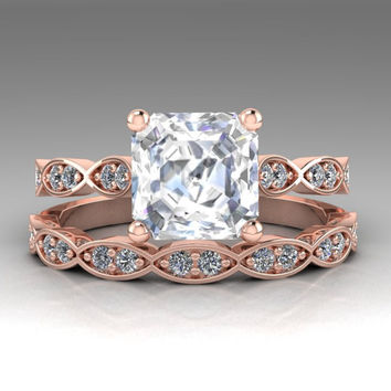 Floral Ring Set, Step Cut Asscher Forever One Moissanite