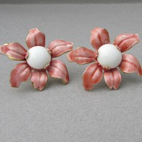 SANDOR Mauve Pink BIG Enamel Flower Vintage Earrings