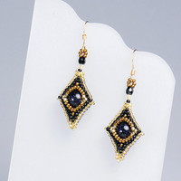 Beaded Rhombic Earrings, Black and Gold, blue gold stone, 0802er-blkgld