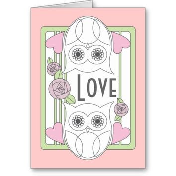Retro Cute Owls & Roses Personalized Love Pink Greeting Cards: Valentine's Day, Mother's Day, or Any Anniversaries