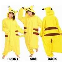 VILAVI Pokemon Pikachu Kigurumi Pajamas Adult Anime Cosplay Halloween Costume Size L