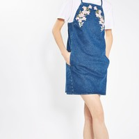 MOTO Embroidered Denim Pinafore Dress | Topshop