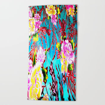 Coral Roses Beach Towel by Azima