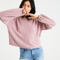 AE Chenille Balloon-Sleeve Sweater, Rose