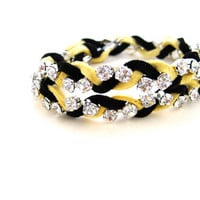 Black and Gold Leather Rhinestone Bracelet, Stackable Bracelet