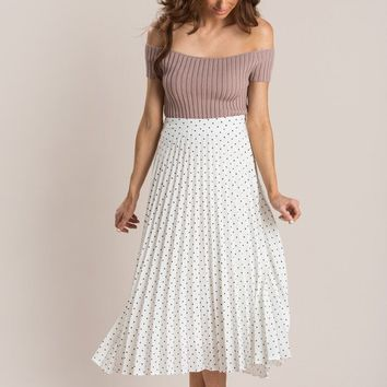 Mimi White Pleated Polka Dot Midi Skirt