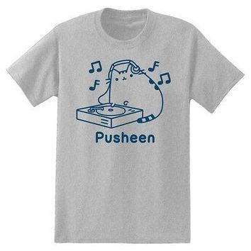 Pusheen The Cat Vinyl Record DJ Facebook Meme Licensed Adult T-Shirt - Grey - XL